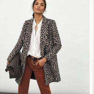Anthropologie Gianna longline leopard blazer